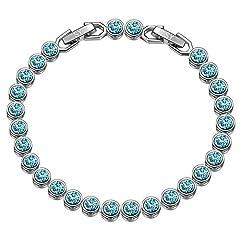 Idea Regalo - Susan Y regali san valentino per lei tennis braccialetti donna cristalli da swarovski originali idee regalo natale bracciale idee regalo donna regali natale donna idee regalo(Turchese chiaro)