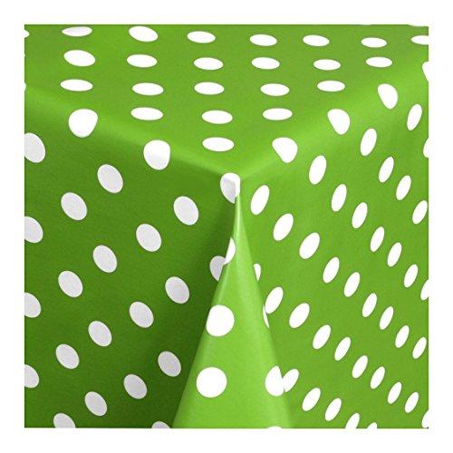 Wachstuch Tischdecke Wachstischdecke Gartentischdecke, Abwaschbar Meterware, Länge wählbar, Punkte Grün Weiß (150-05) 100cm x 140cm