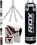 RDX Boxsack Set Gefüllt Kickboxen MMA Muay Thai Boxen mit Stahlkette Training Boxhandschuhe Kampfsport Schwer 4FT 5FT Punching Bag