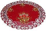 Espamira Tischdecke WEIHNACHTEN Leinenoptik Weinrot Kerzen Weihnachtsdecke (60 cm rund)