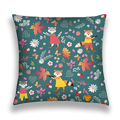 Kissenbezüge Throw Pillow Cushion Cover, Decorative Square Accent Pillow Case, 18 X 18 inches seamless pattern cute cartoon little foxes cats isolated green picture baby daisy bell flowers mushrooms