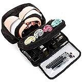 Styleys Double Layer Travel Bra Underwear Lingerie Cosmetic Organizer Case Toiletry Bag (Black - S11011)