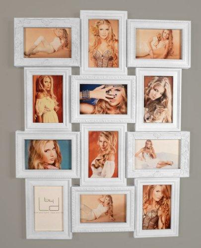 Bilderrahmen weiß 70x50cm 12 Fotos 10x15 cm - Barock Antik nostalgisch Nostalgie Glasscheiben - Fotogalerie Collage Fotorahmen Bildergalerie