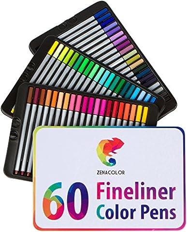 60 Feutres à pointes fines pour coloriage Zenacolor - 60 couleurs uniques (aucune en double) - Stylos Fineliner 0.4mm - Encre à base d'eau - Idéal pour la calligraphie, le dessin de précision, l'écriture, le coloriage pour adulte, BD, manga.