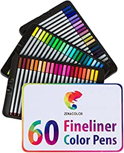 60 fineliners pens – 60 unique colors (with no duplicates) – 0.4 mm fine tip felt pens -Water-based ink – perfect for calligraphy, precise drawings, writing, adult coloring books, comics, manga...
