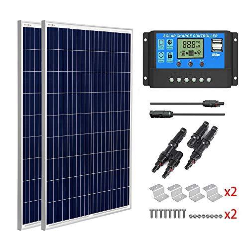 SUNGOLDPOWER Solarpanel Polykristallin Solarmodul 200 Watt 12V:2pcs 100W Polykristallin Solar Panel+20A LCD PWM SolarLaderegler+MC4 Parallel Konnector+Z Halterung