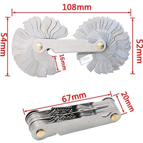Hunpta 52 Klingen Stahl Zoll Metrisch 60 ° Whitworth 55 ° Schraube Pitch Faden Messgage (Silber)