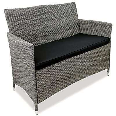 Moderne 2-Sitzer Gartenbank 117x53x86cm mit Poly-Rattanbespannung Aluminium + Sitzpolster Sitzkissen Sitzbank Rattansofa Polyrattan 2er Rattanbank - grau-meliert