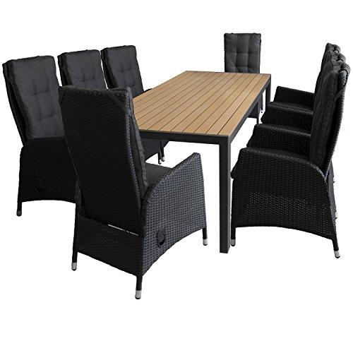 9tlg. Sitzgruppe Sitzgarnitur Gartentisch mit Polywood-Tischplatte 205x90cm Schwarz/Braun 8x Sessel mit Poly-Rattangeflecht stufenlos verstellbare Lehne Schwarz Gartengarnitur