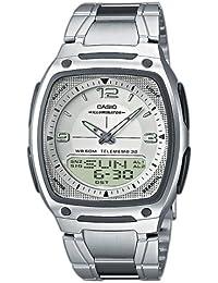 CASIO AW-81D-7AVEF - Reloj analógico y digital de cuarzo con correa de acero inoxidable para hombre, color plateado