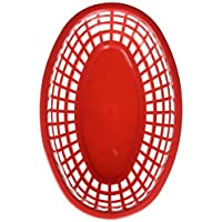 TableCraft H1074R6 6-Piece Classic Oval Plastic Baskets, Red