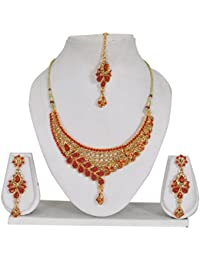 Vipin Store Golden & Red Color Stone & Kundan With Pearl Beads Gold Plated Jewelery Set