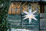 Novaliv Weihnachtsstern 3D Weiss 18 Zack 55 cm Kunststoffstern Dekostern Fensterdeko Weihnachtsdeko Innen Außen Stern beleuchtet
