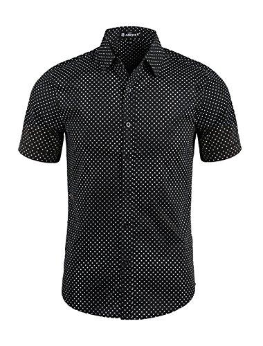 Allegra K Hombre Lunares Cuello De Punto Manga Corta Con Botones Camisa - algodón, Negro, 100% algodón, Hombre, L (UK 42)