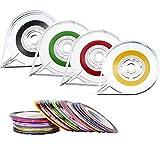 40 Stück Striping Tape Line Nagel Band Rolle für Kunst und 4 Stück Tape Roller Dispenser, Verschiedene Farben
