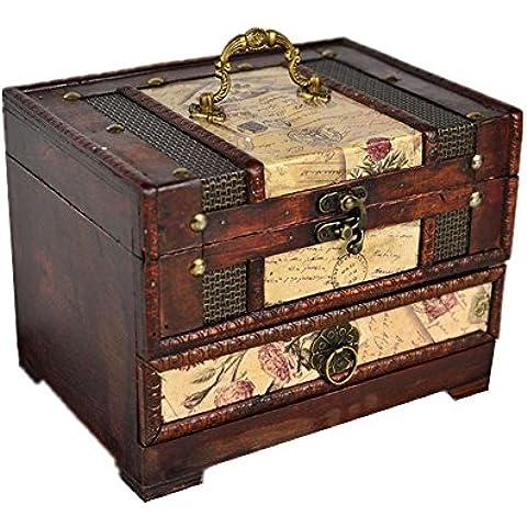 Legno di monili classica toletta con specchio o Retro Photo Display Treasure Box , postage stamp - Stamp Treasure Box