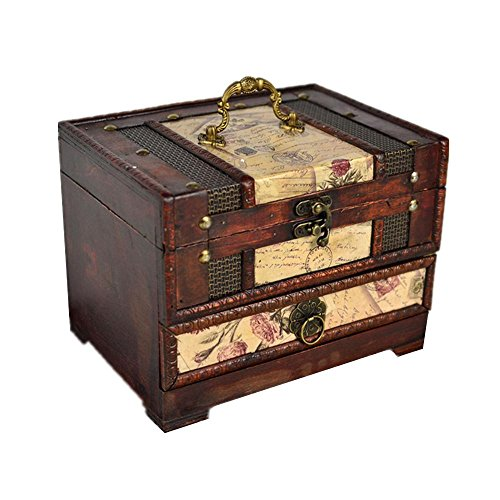 ZXLIFE@Holz Klassische Schmuck Dressing Box mit Spiegel oder Retro Photo Display Treasure Box, Postage Stamp