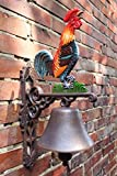 Manufaktur-Lichtbogen Große Wandglocke Hahn aus Gusseisen - 44 cm hoch