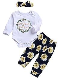 Ropa para bebés,Ropa para niños,(0-24M) Bebé de Manga Larga Estampado de Flores Carta Top + Pantalones Correa de Pelo Set