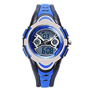 FSX-212G Analog Digital Dual Time Kids Jungs Blau Sport digitale wasserdicht LED Augen Armbanduhr mit Hintergrundbeleuchtung, Alarm, Stoppuhr, Chronograph, Glockenspiel, Kalender, Datum und Tag