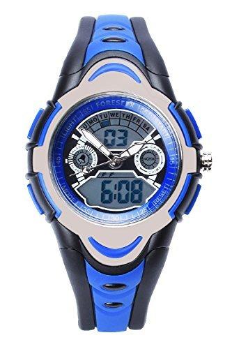 FSX-212G Analog Digital Dual Time Kids Jungs Blau Sport digitale wasserdicht LED Augen Armbanduhr mit Hintergrundbeleuchtung, Alarm, Stoppuhr, Chronograph, Glockenspiel, Kalender, Datum und Tag
