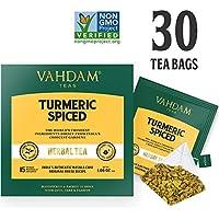 Té chai de cúrcuma - 30 bolsas de té, 100% natural y détox - Receta curativa de la India - SÚPERALIMENTO TRADICIONAL.