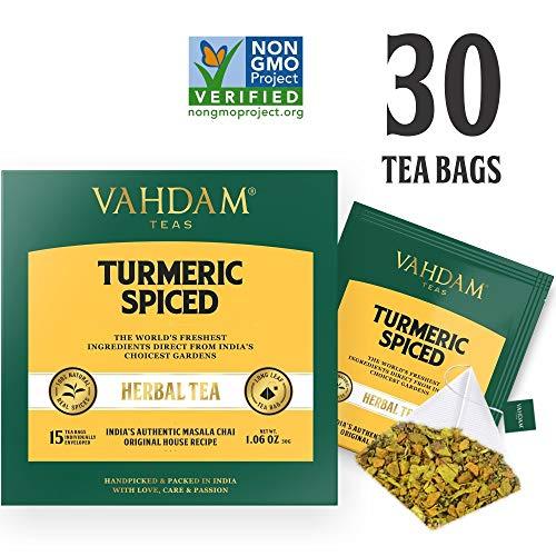 Turmeric Spiced Herbal Tea (30 Tea Bags)   2018 SOFI Award Winner   INDIA'S  Wonder Spice   Turmeric Powder Blended with Fresh Spices   Turmeric Tea