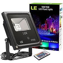 LE Foco LED RGB Exteriores 10W, Modos de luz, Proyector LED de colores, Decoración de jardín, terraza, Navidad