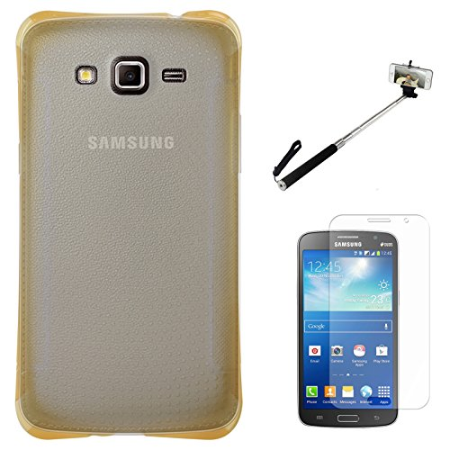 DMG Ultra Thin Flexible TPU Extra Protection and Grip Back Cover Case For Samsung Galaxy Grand 2 G7102 (Golden) + Matte Screen + Selfie Stand Stick