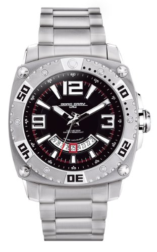 Jorg Gray Men's Analogue Watch JG9800-21 with Black Dial and Stainless Steel Bracelet