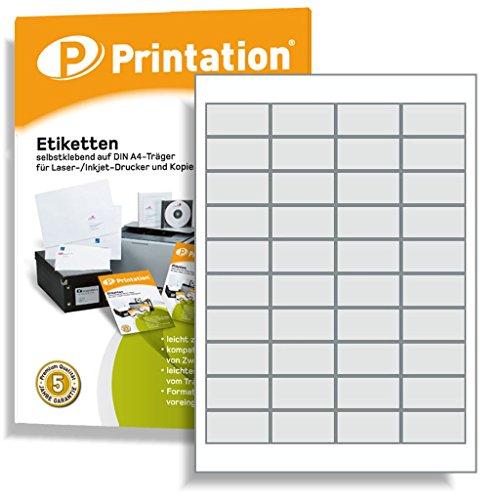 Universal Etiketten 48,5 x 25,4 mm selbstklebend weiß bedruckbar - 4000 Labels 48,5x25,4 auf 100 DIN A4 Bogen - 3657 4780 4474
