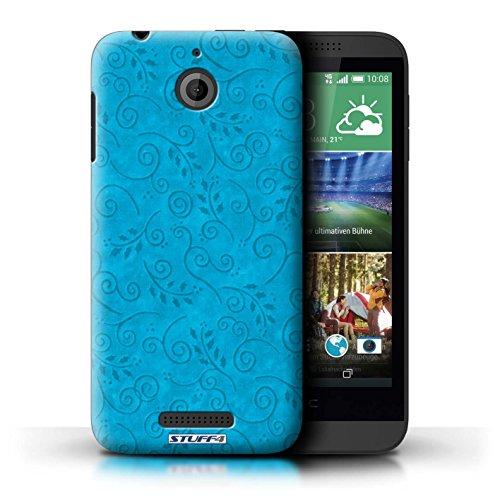 Kobalt® Imprimé Etui / Coque pour HTC Desire 510 / Turquoise conception / Série Motif Feuille Remous Turquoise