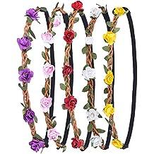 Corona de Flores Guirnalda de La Flor con La Cinta Elástica para Mujeres Niñas, 5 Piezas