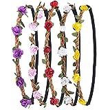 Blumen Stirnbänder Kranz Hochzeit Blumenkrone Haarband mit Elastischem Band für Frauen Mädchen, 5 Stücke