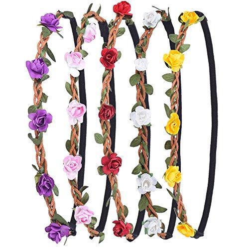 Kranz Hochzeit Blumenkrone Haarband mit Elastischem Band für Frauen Mädchen, 5 Stücke (Blume-stirnband)