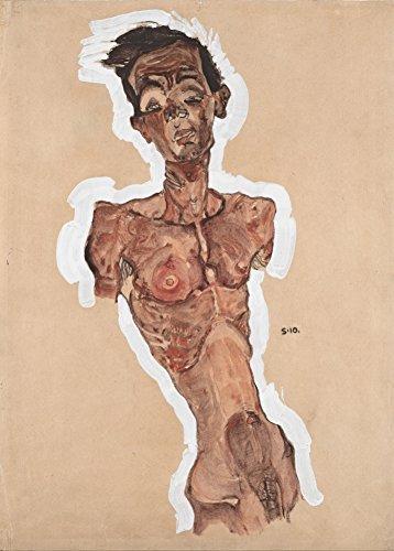 """EGON SCHIELE """"Nacktes Selbstbildnis"""" 1910. 250 g/m², glänzend, Kunstdruck, A3, Reproduktion"""