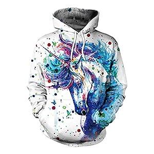 Bonamana Niedlichen Cartoon Einhorn Hoodie Pullover mit Taschen Langarm Oberbekleidung Jacke Sweatshirt für Mädchen Frauen