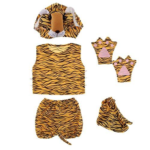 Baoblaze bambini costume animale set tigre cappello top pantaloncini guanti scarpe da festa halloween