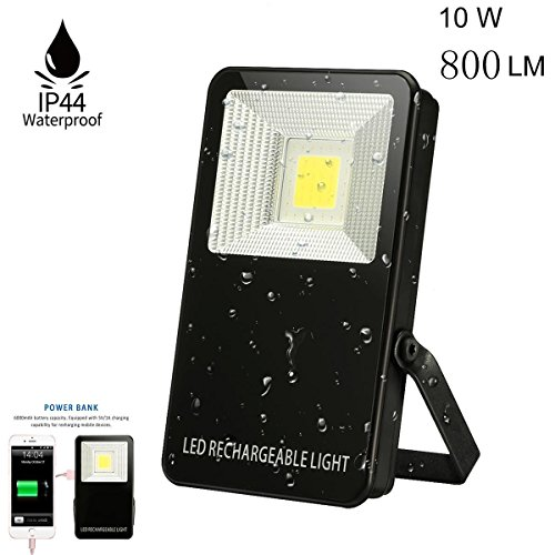 10W Ultraheller LED Fluter,SGODDE wiederaufladbare LED Flutlicht,800LM,Wasserdicht IP44 LED Außenleuchten,LED Flutlichtstrahler, LED Strahler, LED Scheinwerfer