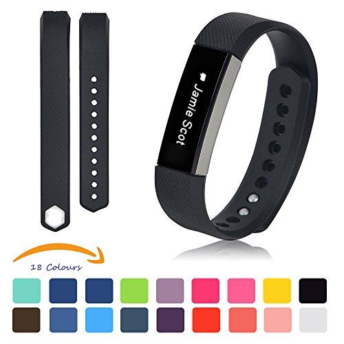Schwarz Fitbit Alta Armband + [Free HD Schutzfolien], iFeeker Kleine Größe Bunte Weiche Silikon Ersatz Sport Uhrenarmbänder Armband Strap für Fitbit Alta mit Kostenlosen Sicheren Verschluss Ringe (Keine Tracker) (Rose Marine-ring)