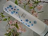 Taufkerze Sterne blau modern Kerze zur Taufe ohne Kreuz Junge Mädchen 250/70 mm inkl. Beschriftung