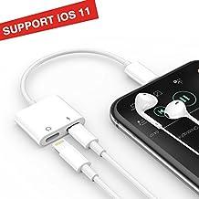 iPhone 7 Lightning Adattatore & Sdoppiatore, TUOYA 2 in 1 Doppia Lightning Jack Cuffia Audio & Carica Adattatore per iPhone 8/ 8 Plus/ 7/ 7 Plus IOS10.3 Support Controllo remoto e Microfono (Bianco 1)