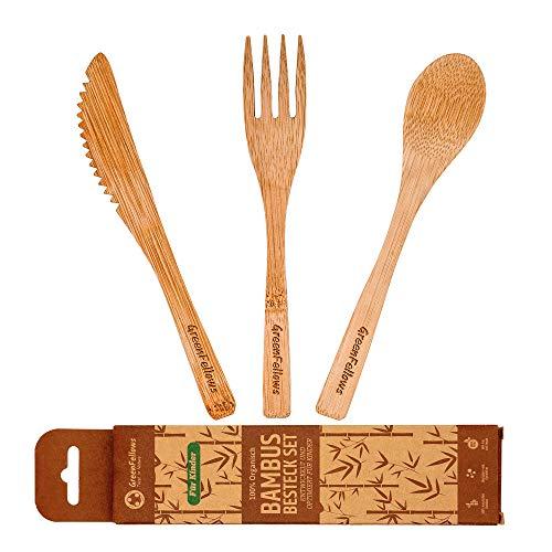 GreenFellows® 3er Bambus Kinderbesteck (-Gabel, Löffel, Messer) - OHNE Chemie (Nicht GEFÄRBT), Plastikfrei & Hochwertig - 16cm Kindergeschirr - Sicheres Bambus Besteck-Set für Ihr Kind ab 1 Jahr