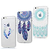 3x Funda iPhone 6, 6s Carcasa Silicona Gel Case Ultra Delgado TPU Goma Flexible Cover para iPhone 6/6s - Totem Azul + Pluma Color + Captura