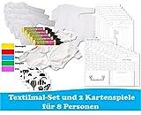 Babyparty Spiele Set - Textilmal-Set XL und 2 Kartenspiel für 8 Spieler in Deutsch (ideal als Idee und Spiel für die Babyparty / Baby Welcome Party / Baby Shower Party)