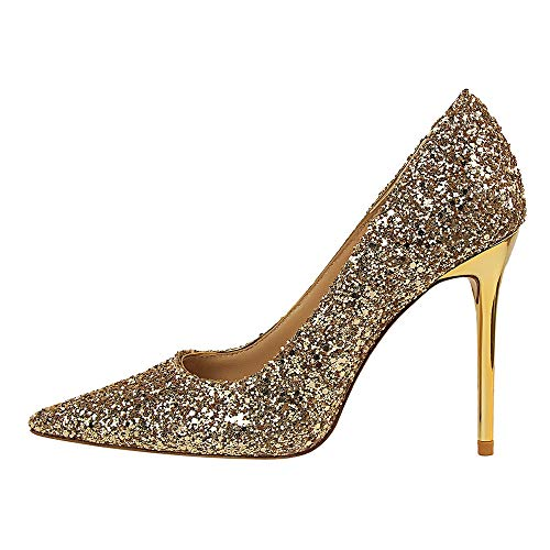 LIANGXIE Women ' S Closed-Toe Pumps Slip On Pointed Stiletto Toe High-Heeled Shoes Girls Sexy Black Heeled Glitter Bar Shoe,Gold,39