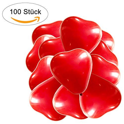 100Globos Corazón Rojo Blanco Rosa, Helium Adecuado para globos con forma de corazón–Calidad–Corazón Globos para Boda, Honeymoon, San Valentín, cumpleaños, rojo, 100