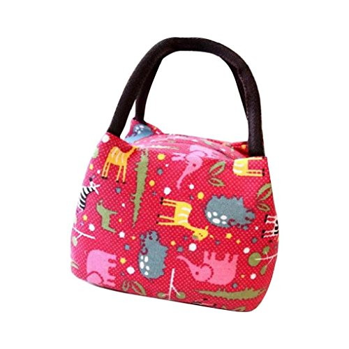 Kolylong Oxford-Gewebe Thermal Isolierte Tote Picknick Mittagessen Beutel Lunch Bag (23 * 15 * 15cm) Rote