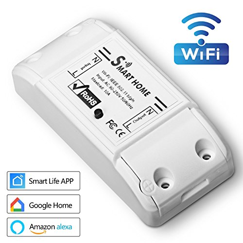Smart Schalter WIFI, Muscccm WLan 2.4 Schalter,Intelligente Zeitschaltuhr Steuerschalter, Smart Home Fernsteuerung 10A mit IOS, Android APP, Alexa, Amazon Echo, Echo Dot Google Home