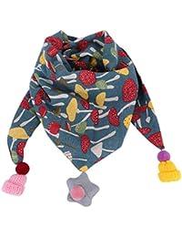 LONTG Foulards en Coton Fille Garçon Echarpe Triangulaire Multifonctionnel  Bébé Bavoir Multicolore à Pompons Châle étoile ce0606c1741